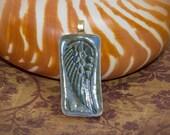 Wing Pendant, Handmade Pottery, Blue