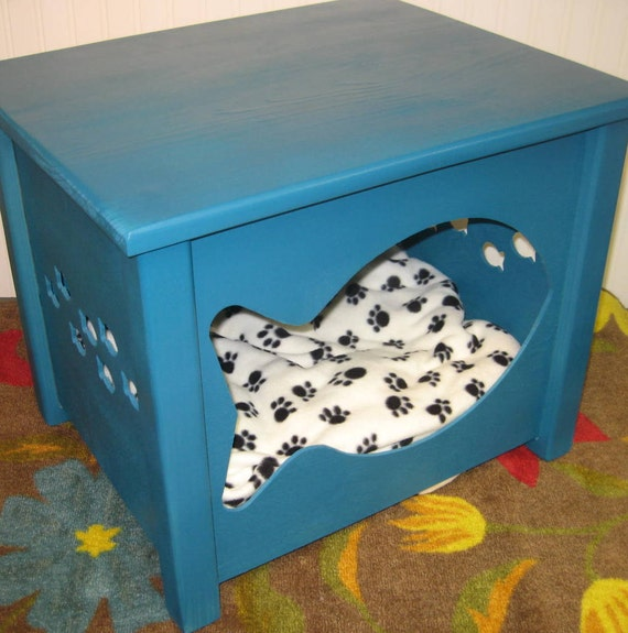 items similar to cat house combo bed or litter box cover fish design turquoise on etsy. Black Bedroom Furniture Sets. Home Design Ideas