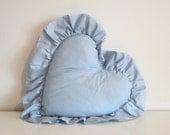 blue heart shaped pillow
