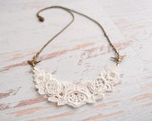 Lace Necklace - Laurelin - Ivory Lace Antique Brass Bird Jewelry - Bridesmaid Necklace