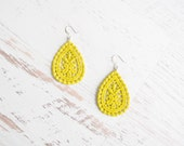 Neon Lace Earrings - Amaya - Summer Neon Yellow Lace Earrings - Chartreuse Lemon Lime Jewelry