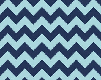 Riley Blake 2-tone chevron in Navy - 1 yard