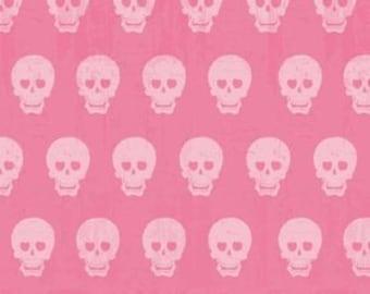 Riley Blake Geekly Skulls Hot Pink - 1/2 yard