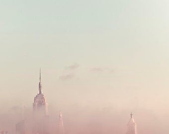 Pastel New York Print, Manhattan Skyline, Empire State Building, Pink, Blue, NYC Skyline, Modern Minimalist