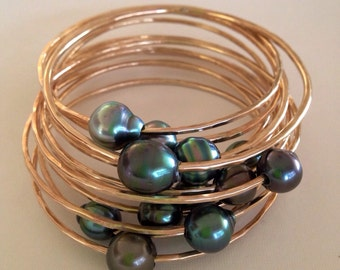 Make Your Own Tahitian Pearl Thick 12 Gauge Yellow or Rose Pink Gold Filled Bangle