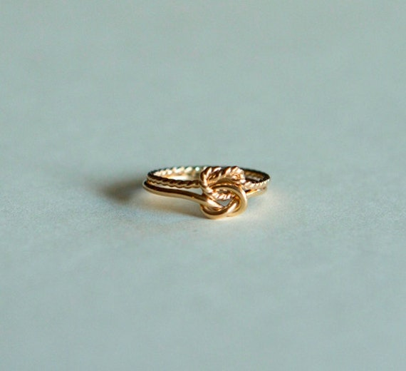 10kt gold love knot ring engagement rinng rose gold wedding