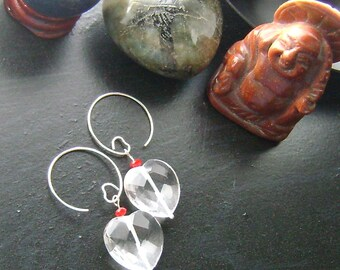 Faceted Hearts Valentines Earrings-Clear Rock Crystal with Red Accents on Heart Earwires