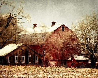 Red Barn Photograph, Rustic Barn Landscape, Old Red Barn Print, Old Country Barn, Rustic Home Decor, Farmhouse Decor 8x10