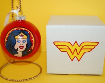 Wonder Woman Ornament Gift Set Hand Painted Glass and Gift Box