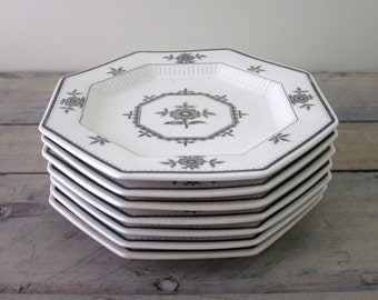 Vintage White and Green Floral Plates Independence Ironstone Set of Seven