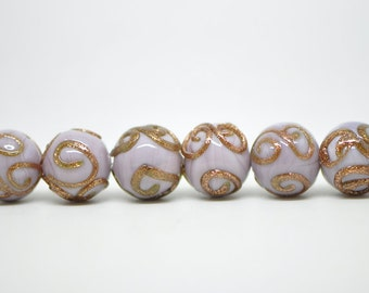 10pcs Lampwork Round Glass Beads Lavender 14mm- (LL25-6)