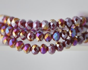 Faceted Rondelle Glass Beads 4x6mm Red -95pcs /(BZ06-44)