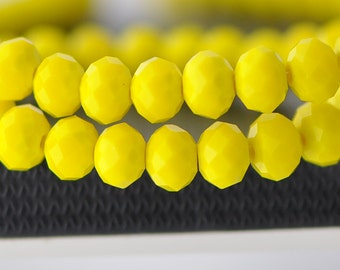 Yellow Faceted Rondelle Crystal Glass Beads 6x8mm- BZ0817/ 70Pcs