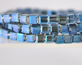 Glass Crystal Cube 6mm Faceted  Beads Montana Blue -FZ0634 / 95pcs