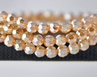 70pcs Round Faceted Crystal Glass Beads 8mm Champagne -(32QZ08-15)