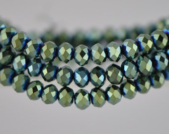 Crystal Rondelle Faceted Glass Beads 4x6mm Metallic Green- BZ0688/ 95pcs