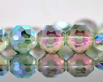33pcs Frosted Crystal Glass Faceted Round Coin beads, 18x10mm Matte Rose Green- (TS22-4)
