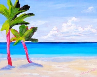 12 x 16 Fine Art Original Oil Painting Impressionist Tropical Beach Landscape by Rebecca Croft