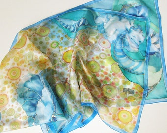 Natural silk scarf hand painted by free hand - dyed on ponge silk - Blue with decorative flowers - 45x180