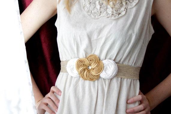 SALE Rosette Sash Wedding Ivory Gold Champagne Flower Rosettes Beading Ribbon Sash Organza Ribbon Belt