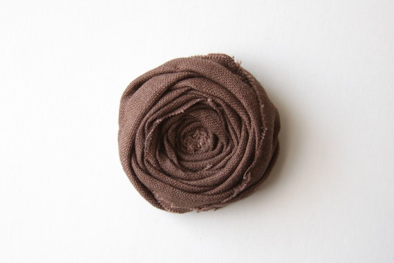 SALE Rosette Brooch Pin Rustic Chocolate Woodland Linen Fabric Rosette Rose Flower Brooch Boutonniere Broche Broach Flower Pin 2.25 inch