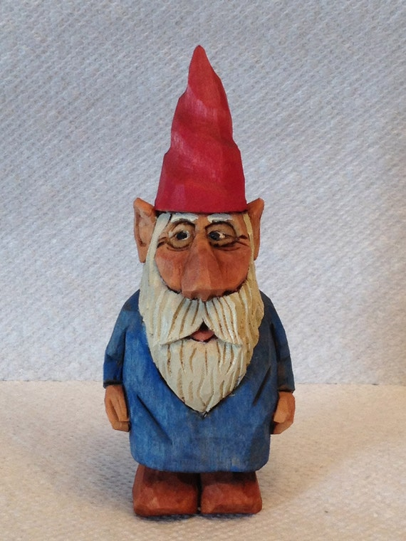 Hand Carved Handmade Small Garden Gnome Wood Carving