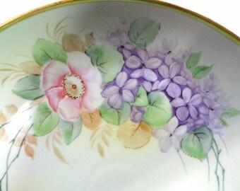 Vintage Porcelain Cake Plate with Lavender Flowers Gold Handles//Vintage China//Vintage Serveware//