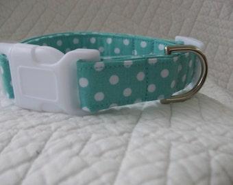 Aqua Polka Dot  Dog Collar Custom Made