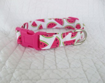 Watermelon Hot Pink  Dog Collar Custom Made
