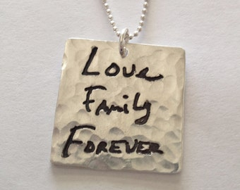 Memorial Jewelry Square Silver Pendant in Your Lost Loved Ones Actual Writing-Made to Order