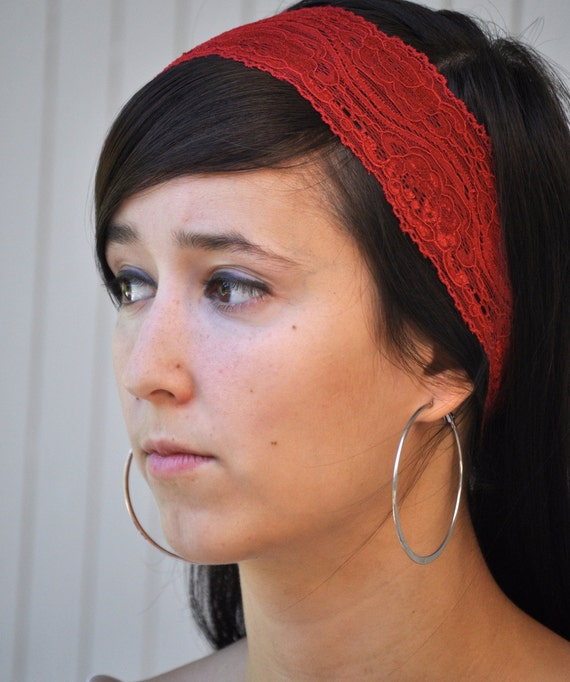 Lace headband in buff, moss green, cobalt blue, gray, cranberry red, gray, . Hair accessory--photo prop, workout or fashion