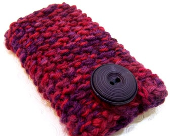 Knit Phone Case, Purple Red Phone Sleeve,  Knit IPhone Sleeve, Phone Sleeve, Red Knit Phone Case, Knit Plum Purple Red Wool, Knit Phone Sock