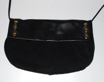 Vintage 90s Leather Suede Purse/Bag/Clutch Black with Gold Studs Med