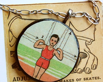 Jumpin' Jack Gym Class Exercise Boy Handmade Wood Pendant Silver Chain Hipster Geek Necklace