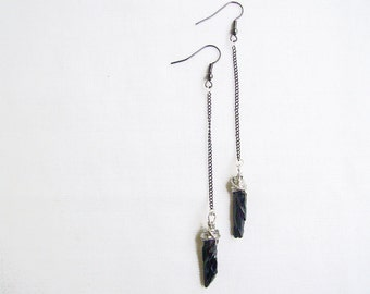 Black Quartz Earrings, Quartz Crystal Point Earrings, Quartz Dangle Earrings