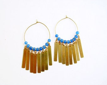 Fringe Earrings, Gold Hoop Earrings with Blue Jade, Boho Statement Earrings
