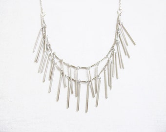 Layering Fringe Necklace, Double Strand Necklace, Silver or Gold Minimalist Bar Necklace