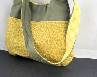 The Millie Bag by Nstarstudio - Womens Shoulder Bag, Medium Handbag - Yellow and Green Fabric Purse
