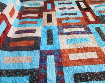 King or Queen Size Bed Quilt in Brown, Tan, Rust and Aqua Mosaic Tiles Pattern