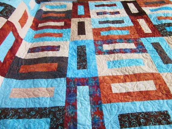 King Or Queen Size Bed Quilt In Brown Tan Rust And Aqua
