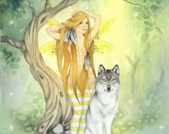 The Wolf's Fairy - Fairy Art Original Watercolor Painting - 9x12 - fantasy. wolf. animal. fairy tale. yellow. woodland. grey. forest. woman.
