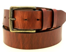 """American Made Men Or Women's 1 1/2"""" Tan Hot Dipped Harness Leather Belt With Double Loops And Antique Brass Buckle"""