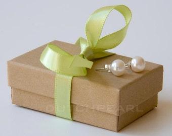 Set of 12 pairs - spring wedding  twelve  pairs creamy pearl studs in giftbox white pearl stud earrings green wedding jewellery