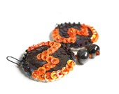 Sequin Earrings Brown Orange Embroidered felt