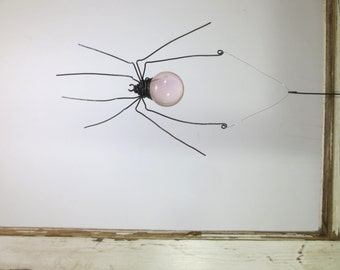 Pale Pink Sun Catcher Window Spider Hanging Art, Made to Order