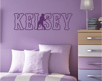 Softball Wall Decal Personalized Name and Color - Pitcher, Player, Catcher