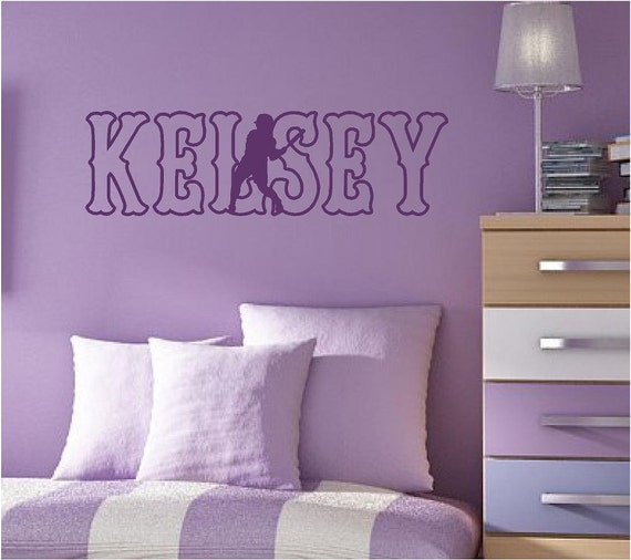 Wall Decal Softball Player Custom Personalized Name