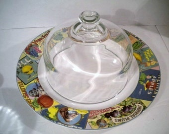 Vintage Glass Dome Oneida Sakura Vintage Labels Dinner Plate Cheese Server/Keeper