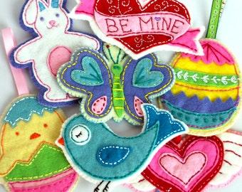 Valentine's Day Easter Felt Embroidered Ornaments Pattern Set Digital Download
