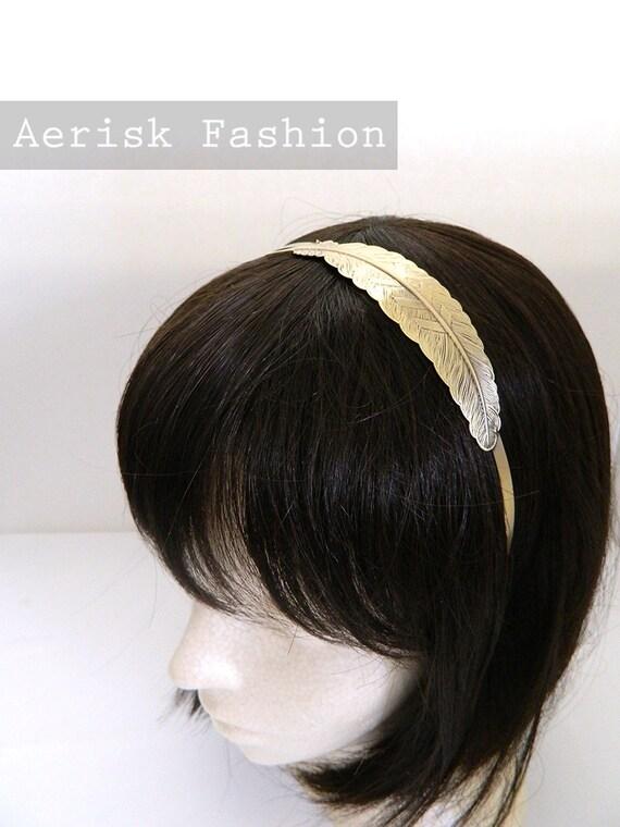 Art Deco Fashion headband - Goddess style Bronze Feather stamping headband a vintage like design